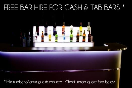 Free Cocktail Bar Hire for Cash & Tab Bar rental