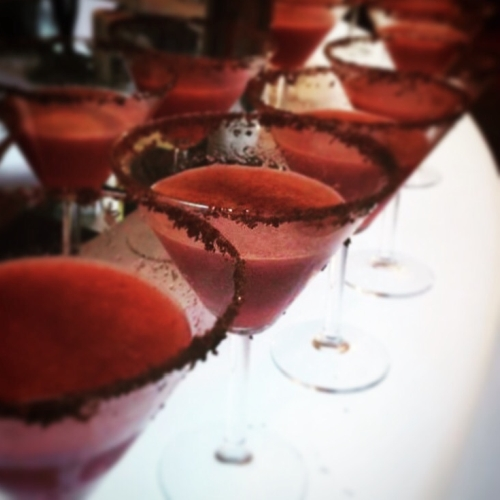 chocolate rimmed strawberry daiquiris