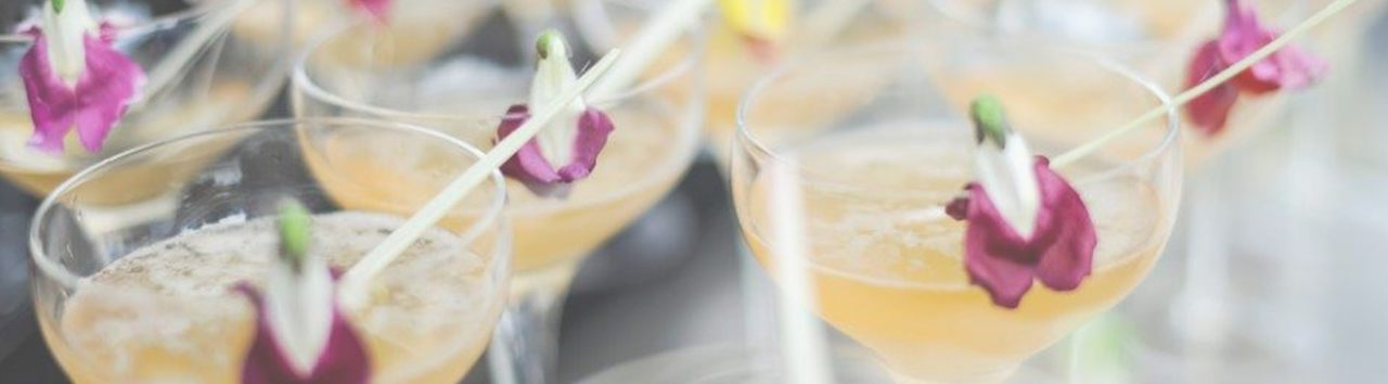 Cocktail Glasses with petals