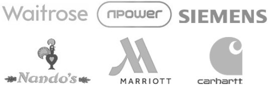Nandos NPower Siemens Waitrose Marriot Carhartt logos